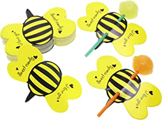 Penta Angel 50Pcs Bee Lollipop Cards Cute Paper Homemade Candy Sweets Holders Decoration for Baby Shower Wedding Kids Birthday Party Christmas Halloween