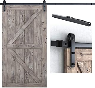 """8FT Soft Close Heavy Duty Sturdy Sliding Barn Door Hardware Kit - Simple and Easy to Install - Includes Step-by-Step Installation Instruction - Fit 42''- 48"""" Door Panel (J Shape Hangers)"""