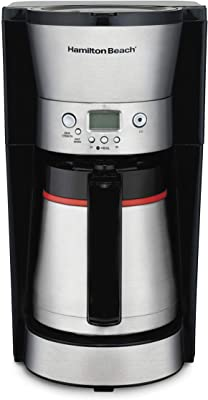 Hamilton Beach Thermal 10-Cup Coffee Maker, Programmable, Cone Filter, Flexible Brewing, Stainless Steel (46899A), (Renewed)