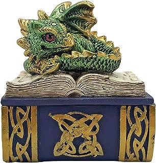 Nemesis Now Green Bedtime Stories Dragon Book Box, Polyresin, One Size