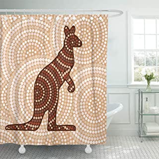 Semtomn Shower Curtain Waterproof Polyester Fabric 72 x 78 inches Art Abstract Aboriginal Kangaroo Dot Painting in Vector Format Australian with Set with Hooks Decorative Bathroom Curtains