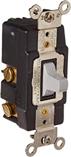 Leviton 1257-GY 20 Amp, 120/277 Volt, Toggle, Double Throw, Center Off, Momentary Contact, Single-Pole AC Quiet Switch, Industrial Grade, Grounding, Gray