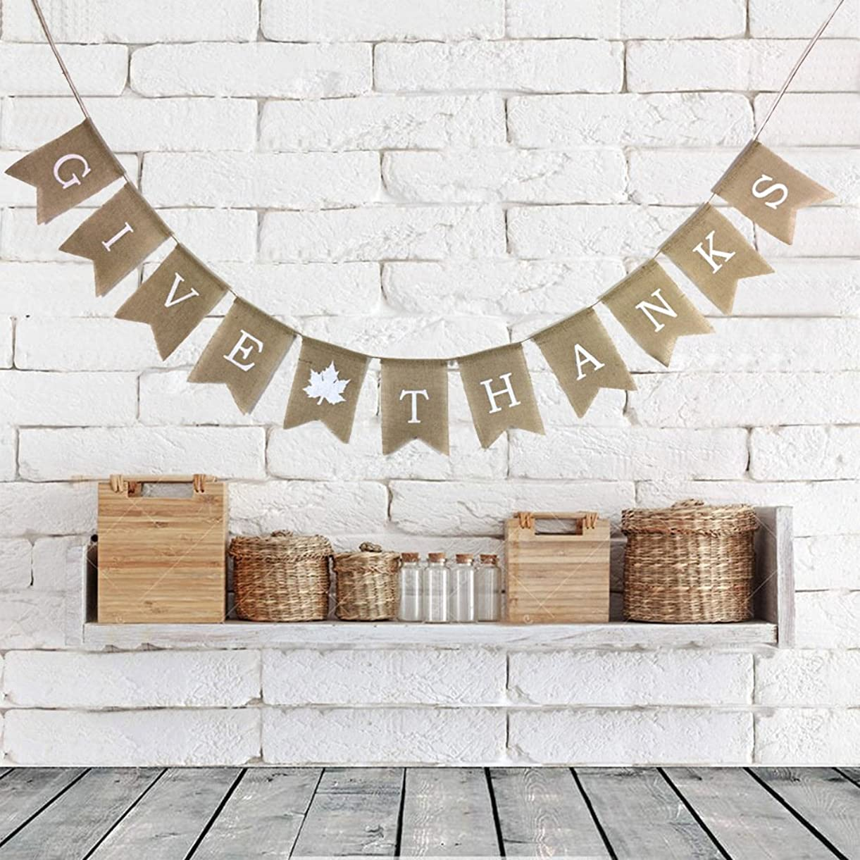 Rainlemon Give Thanks Burlap Garland Bunting Banner Happy Thanksgiving Day Party Home Decoration bmuco8555