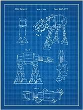 (Star Wars AT-AT - Blue) - Star Wars AT-AT Design Patent Art Poster 46cm x 60cm Silk Screen Print' - Blue