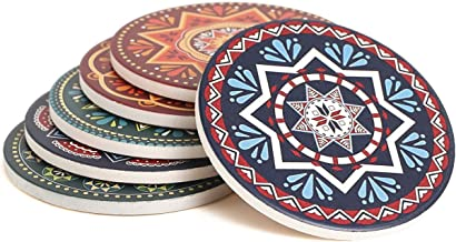 Enkore Absorbent Coasters for Drinks - 6 Pretty Mandala Patterns on Big Ceramic Stones with Cork Back, Use as Elegant Home...