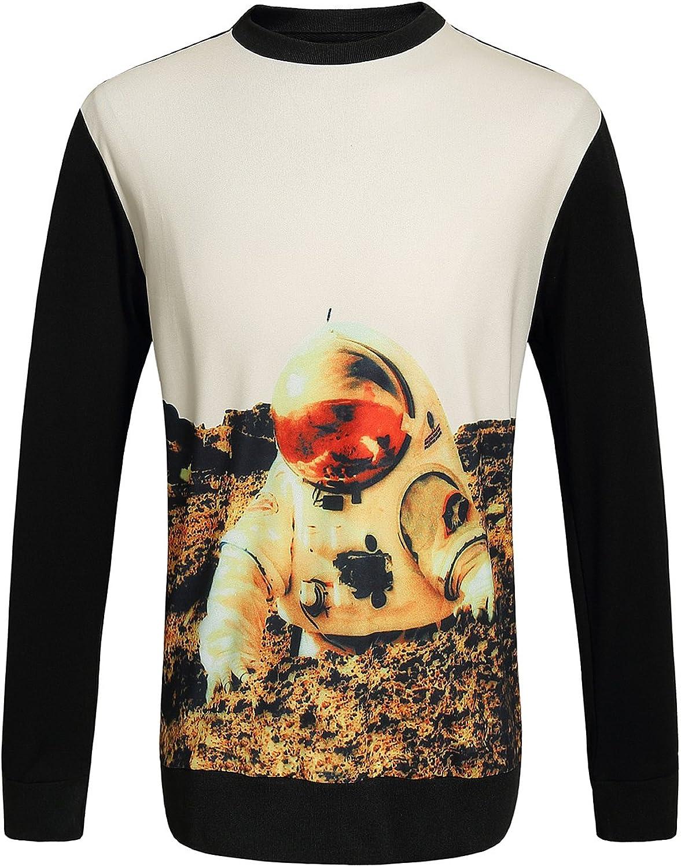 9261aadddfc SSLR Spaceman Printed color Block Casual Tee Sleeve Sweatshirt Men's ...