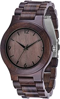 Juswoo Wood Watch, Mens Wooden Watch with Japanese Movement, Real Natural Wood Dial, Black Ebony Wood Quartz Wrist Watch