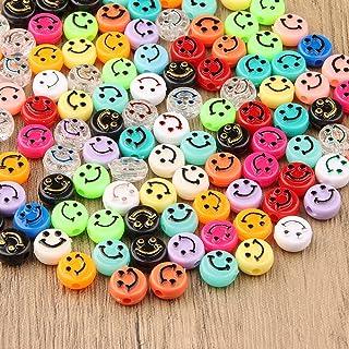ZesNice Smiley Kralen, 200 Stuks Schattig Blij Gezicht Kralen voor het Maken van Armbanden, Kleurrijke Kralen met 7M Elast...