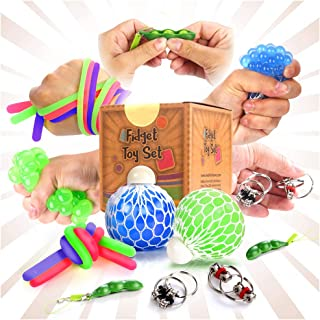 Fidget Sensory Toys for for Autism, ADHD. 2 Stress Relief Balls, 2 Soybean Squeeze, 2 Flippy Chain and 3 Large Size Stretc...