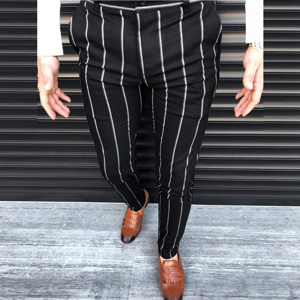 WUAI-Men Chinos Slim Fit Plaid Stretch Flat-Front Skinny Dress Pants Business Work Pencil Lounge Pants