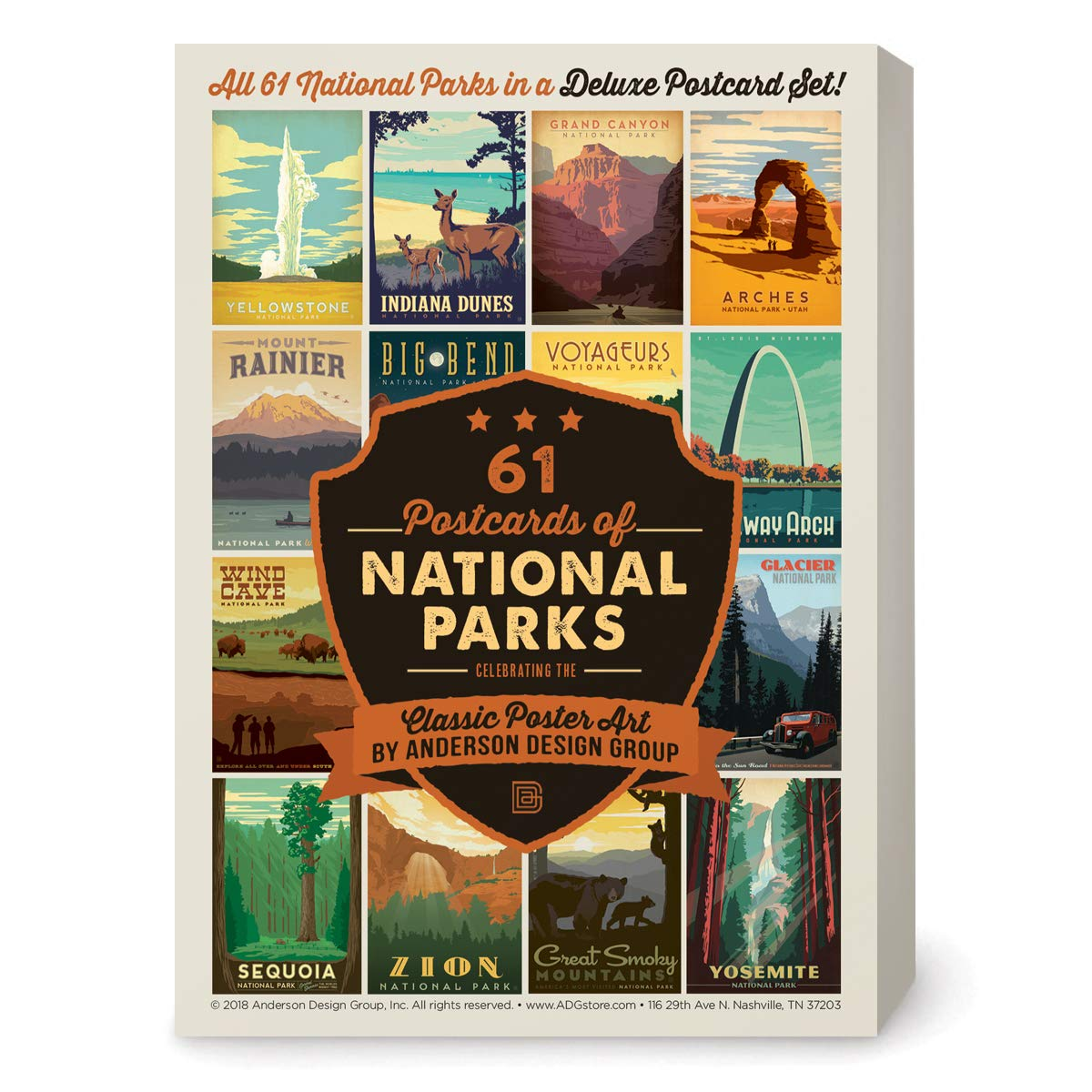 Amazon Com Anderson Design Group Postcards 61 National Parks Classic Poster Art Now Featuring Gateway Arch And Indiana Dunes National Parks Office Products