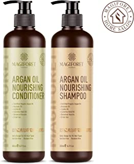 Argan Oil Shampoo and Conditioner Set (2 x 16.9 Oz) - MagiForet Organic Shampoo & Conditioner Sulfate Free - Volumizing & Moisturizing, Gentle on Curly & Color Treated Hair,For Men & Women (cd set)