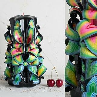Candela Intagliata Decorata - Multipli Colori Vivaci Brillanti Nero - Regali Per Uomini E Donne - EveCandles