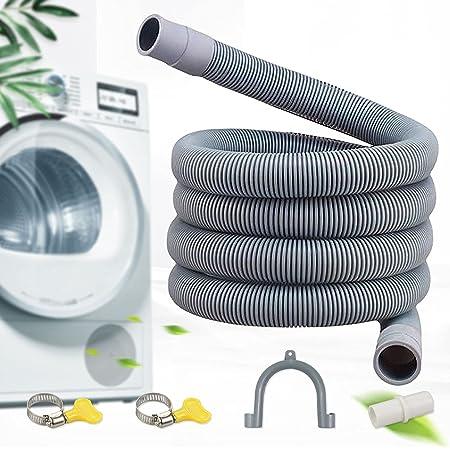 Moocuca Tuyau de vidange pour machine à laver, 2 M Flexible d'évacuation universel, Matériau PVE, y compris support et colliers de serrage, Rallonge de tuyau pour lave-vaisselle et machine à laver
