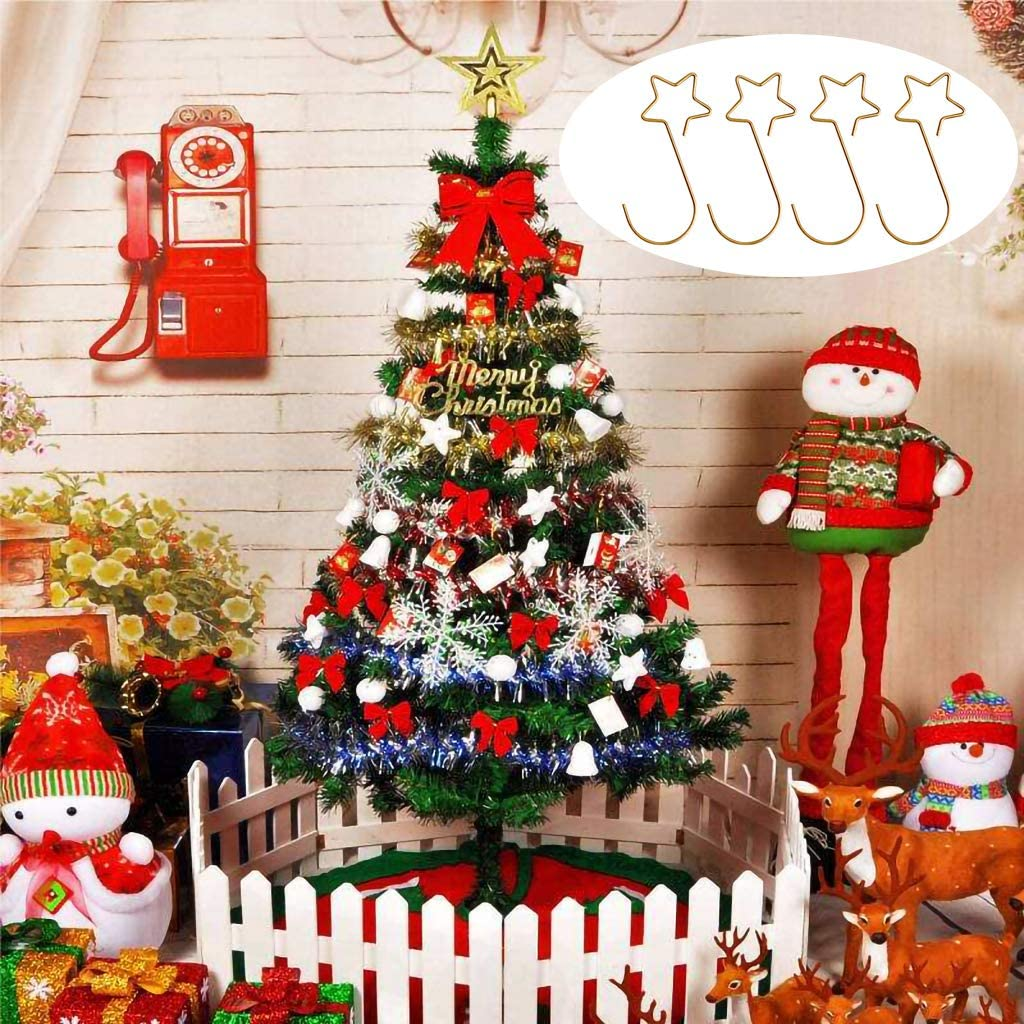 Gold GKanMore 100 Pieces Star Shape Christmas Ornaments Hooks Ornament Hangers for Party Christmas Balls Christmas Tree Decoration