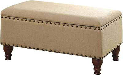 HomePop Linen Storage Bench with Nailhead Trim and Hinged Lid, Tan