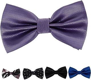 Dan Smith Men's Fashion Series Microfiber Pre-tied 5pc Bow Ties Set With Free Gift Box
