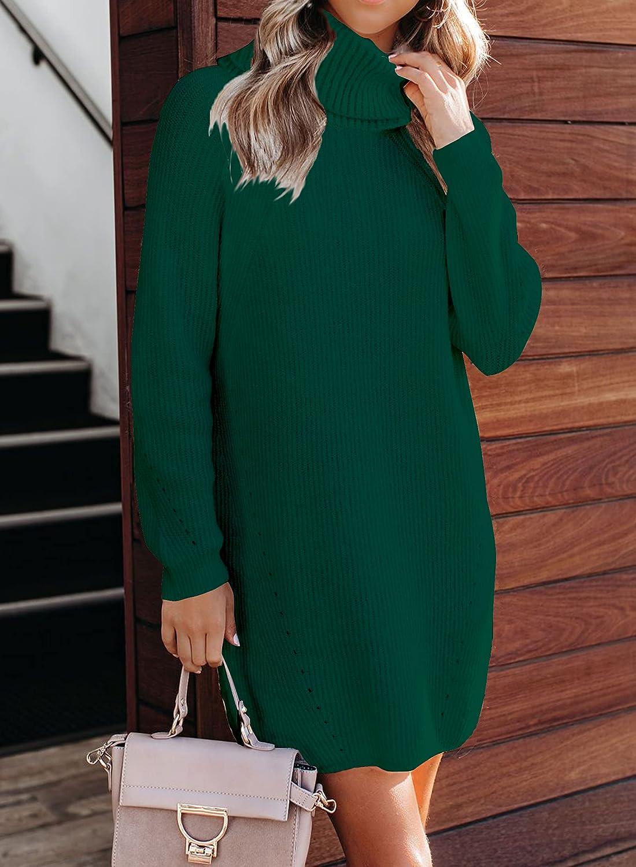 Sounity Women's Turtleneck Long Sleeve Loose Oversize Knit Long Pullover Sweater Dress