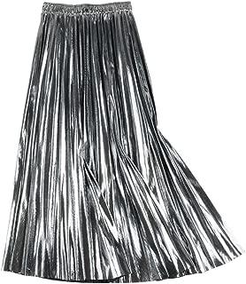Denim-Leaf Autumn Winter Skirt Falda de Cintura Alta elástica Plisada para Mujer, Color Dorado, Plateado y Negro