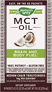 Nature's Way 100% Potency Pure Source MCT Oil from Coconut- On-The-Go Single-Serve Packets- Vegetarian, Gluten-Free, Flavo...