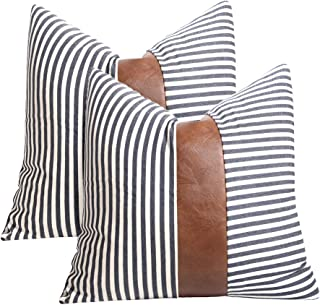 cygnus 20x20 inch Pillow Covers Farmhouse Decorative Navy Stripe Pillowcase Leather Accent Cushion Covers for Couch Sofa S...