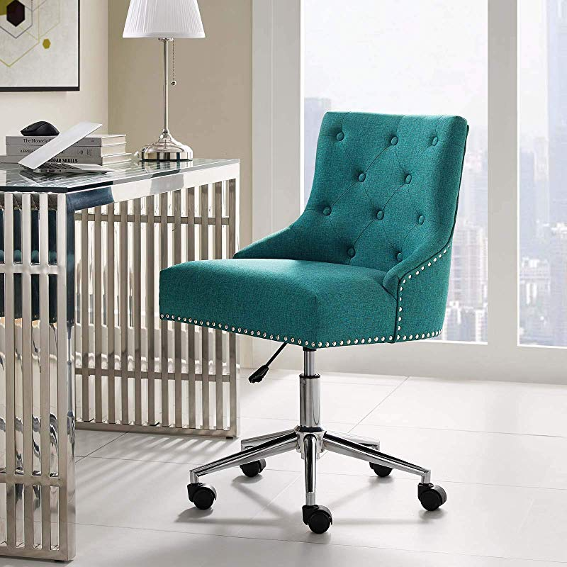 Modway EEI 3609 TEA Regent Tufted Button Swivel Upholstered Fabric Office Chair Teal