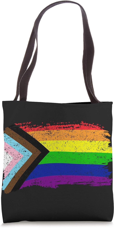 Inclusive Progress Pride Flag Gay Pride LGBTQ Rainbow Flag Tote Bag