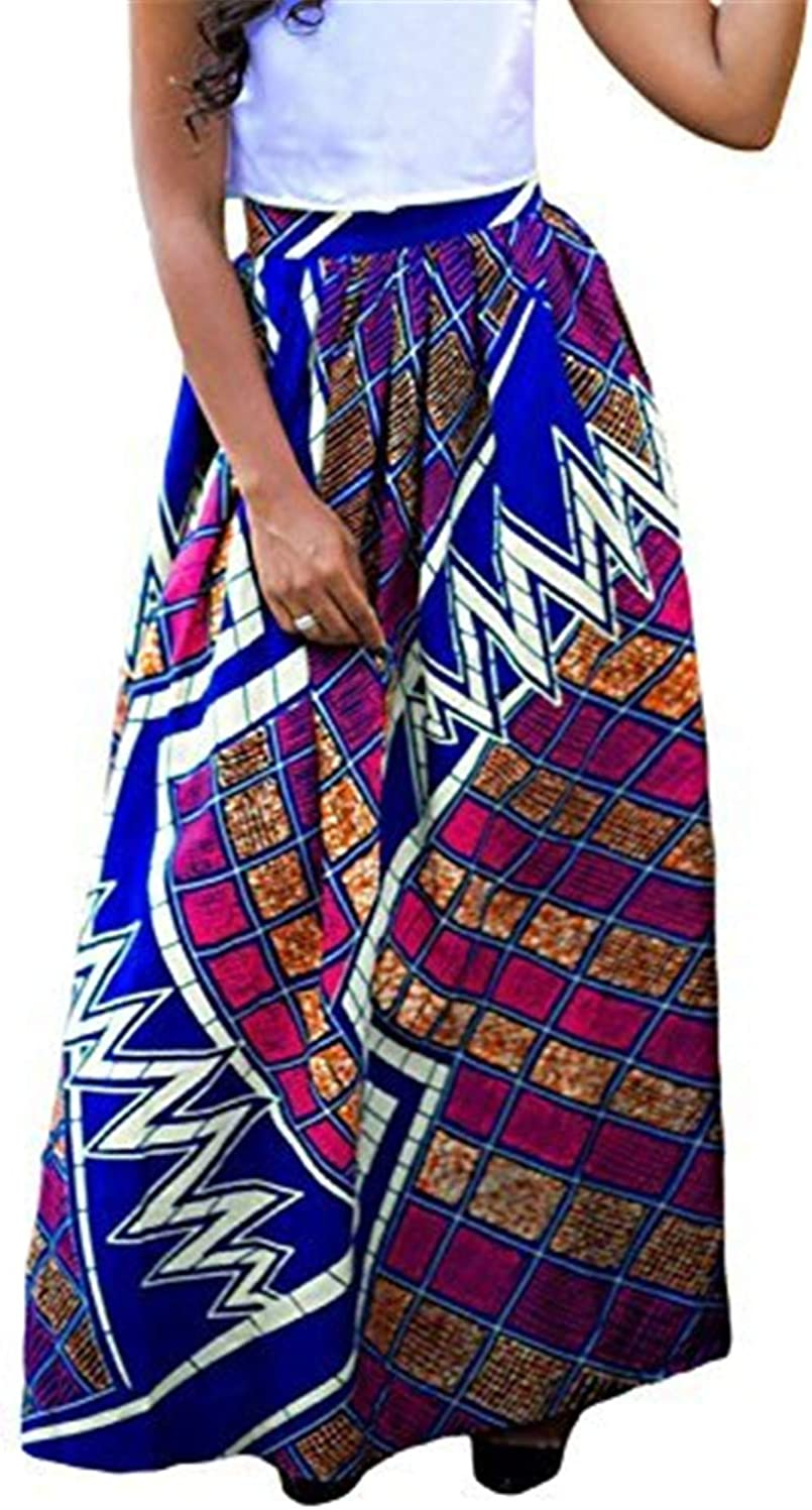 MENILITHS Women African Printed Casual High Waisted A Line Maxi Long Skirt With Pockets