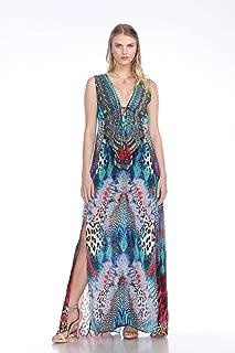 Designer 2 Slit Silk Resort Dresses | Maxi Dress with Plunging Neckline