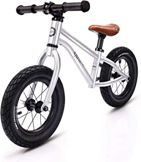 XJD キックバイク 子供用 ペダルなし自転車 2歳~6歳対象 12インチ ゴムタイヤ装備 超軽量 アルミ製 高級感溢れ プレゼントに最適 (シルバーH3)