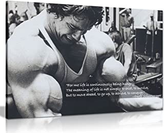 Arnold Schwarzenegger Bodybuilding Motivation Quote Canvas Wall Art Print (30x20in)