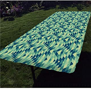 Geometric Polyester Fitted Tablecloth,Abstract Zigzag Chevron Triangles Ethnic Boho Creative Design Rectangular Elastic Edge Fitted Table Cover,Fits Rectangular Tables 96x36