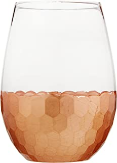 Fitz and Floyd Daphne Stemless Wine Glass Set of 4 – Elegant Lead-free Matching Drinkware For Everyday Or Entertaining – Stylish Modern Glasses - Gift For Wedding, Birthday, 20 oz, Copper