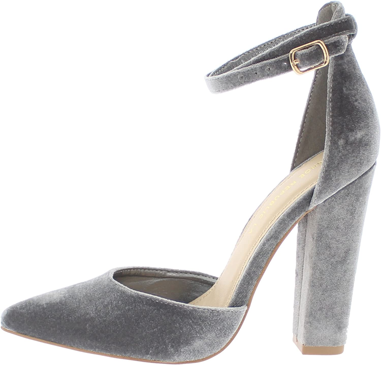shoes Republic Velvet D'Orsay Pump w Wraparound Ankle Strap Vivia