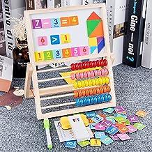 Btuty Ferramenta multifuncional de ábaco de madeira com prancheta de desenho dupla face de sete peças para crianças em ida...