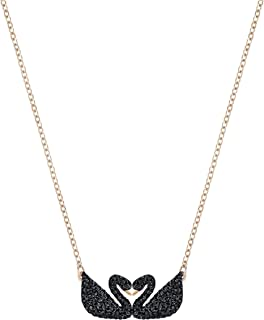 Swarovski Collier Swarovski Iconic Swan, noir, Métal doré rose