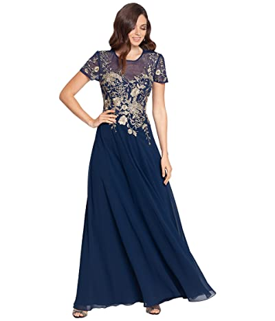 Betsy & Adam Long Embroidered Short Sleeve Chiffon Gown