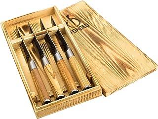 Forged Olive - Cuchillo de carne (4 piezas, hecho a mano, en caja de madera)