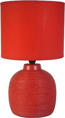 HOMEA 6LCE086RO LAMPE, CERAMIQUE, 40 W, ROUGE, L.19l.19H.33CM