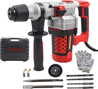 Sponsored Ad – 2200W 220V Rotary Hammer Drill SDS Plus Electic Drill Corded Impact Drill(2 in 1,0-930RPM,360°Auxiliary Han...