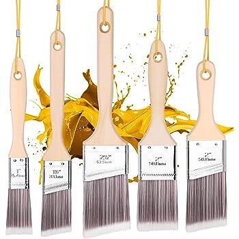 5Pk Paint Brushes with 5 Portable Ropes,squish Paint Brush Set for Wall,Paint Brushes Set, Treated Wood Handle, Professional Brush Set, Trim Paint Brush, Paintbrush