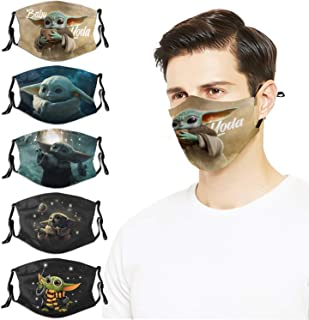 5PCS Face Cover Mask with 10 Fi-Lters Reusable Adjustable Washables Elastic Stra