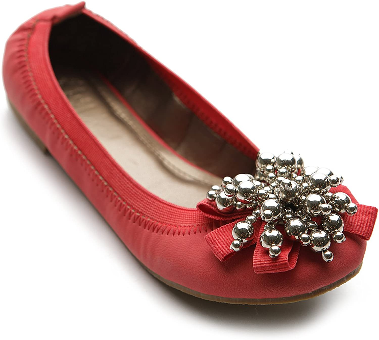 Ollio Womens Ballet shoes Soft Cute Silver Bead Accent Flats M1913 (6.5 B(M) US, Scarlet)