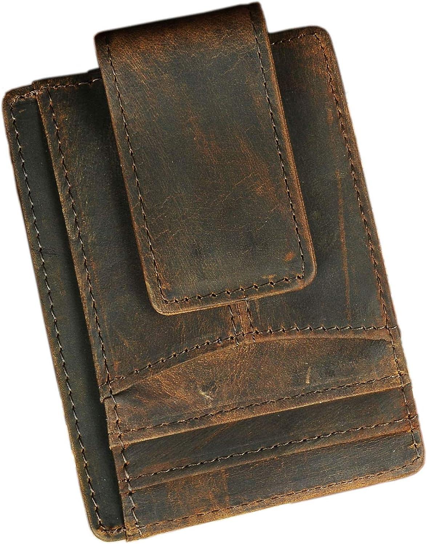 Le'aokuu RFID Leather Minimalist Slim Wallet Front Pocket Card Case Money Clip
