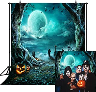 CapiSco Halloween Backdrop Photography Background Horror Moon Night Scary Cemetery Pumpkin Lantern Backdrop for Kids Adult...