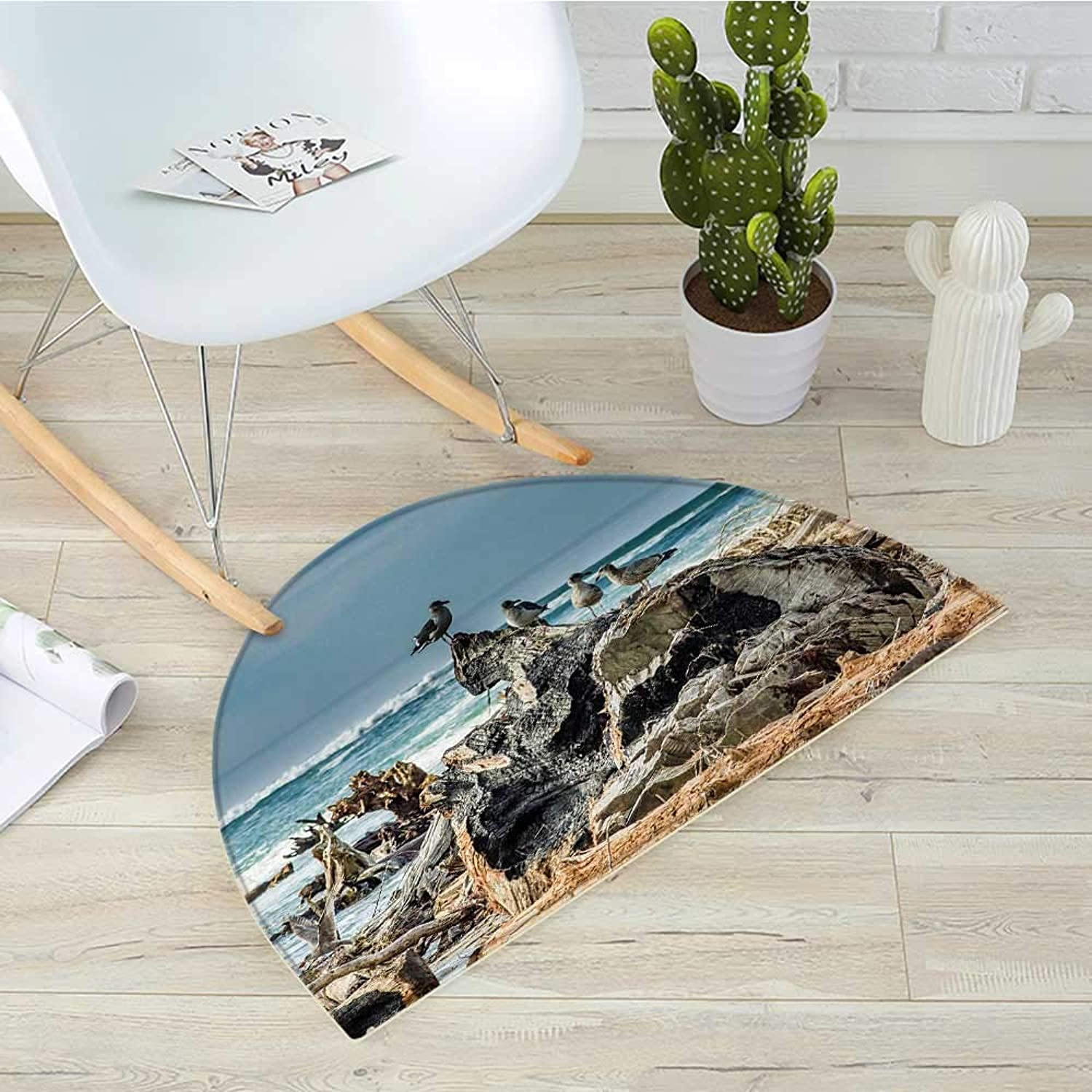 Driftwood Semicircular CushionA Raft of Driftwood on The Shoreline with Seagulls Wavy Sea and The Sky Digital Image Entry Door Mat H 43.3  xD 64.9  bluee