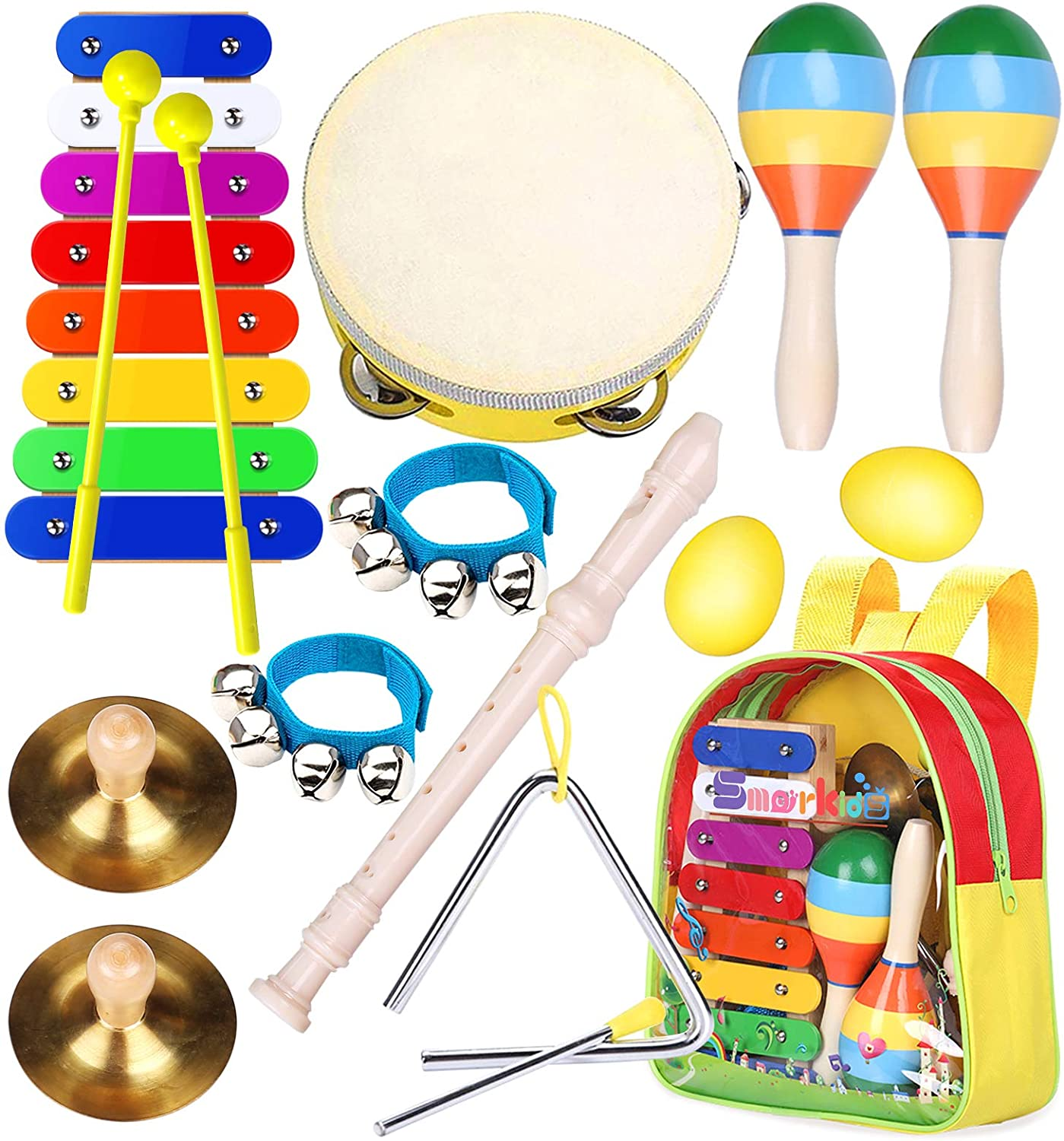 Toddler Musical Instruments Toys- Smarkids Premium Accurately Tuned Percussion Musical Instruments for Kids Children Educational Toy Set for Boys& Girls with Xylophone Flute Tambourine Maraca Backpack : Toys & Games