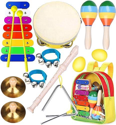 Instruments de Musique pour Enfants Professionnel, Smarkids Jouets Musicaux Educatifs Bois Percussion pour Bébé avec ...
