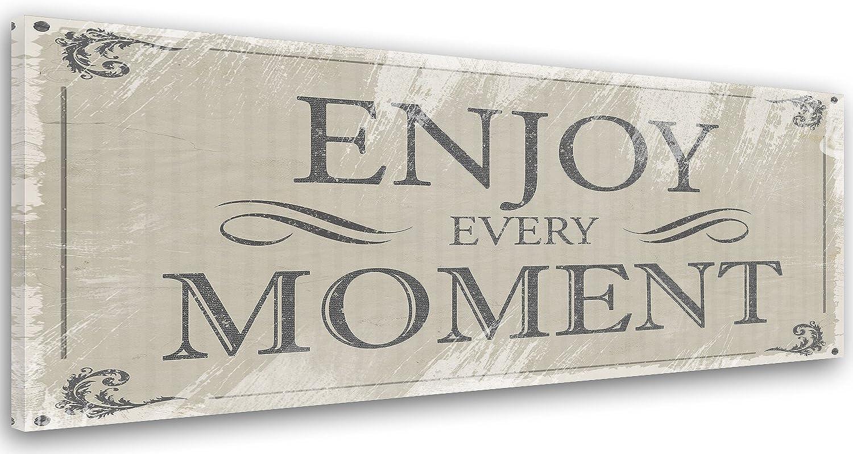 Feeby, Leinwand, Leinwand, Leinwand, Bild mit Spruch, Typografie Bilder, Spruchbild, Wand Bild, Leinwandbilder, Wandbilder, Kunstdruck 40x120cm, Enjoy, Every, Moment, Text, GRAU, RUSTIKAL B071R3D793 4d7af4