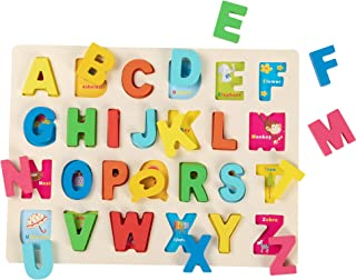 Joqutoys Wooden Alphabet Puzzles, ABC Puzzles Board for Toddlers, Educational Learning 26 Letter Toys for Preschool Boy and Girl Gifts